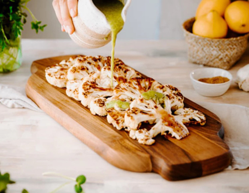 Roasted Cauliflower Steaks with Green Tahini Sauce