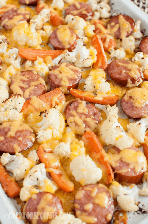 Low Carb Keto Cheesy Sausage and Veggie Sheet Pan Dinner